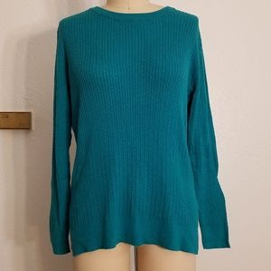 Turquoise Ribbed Cable Light Sweater